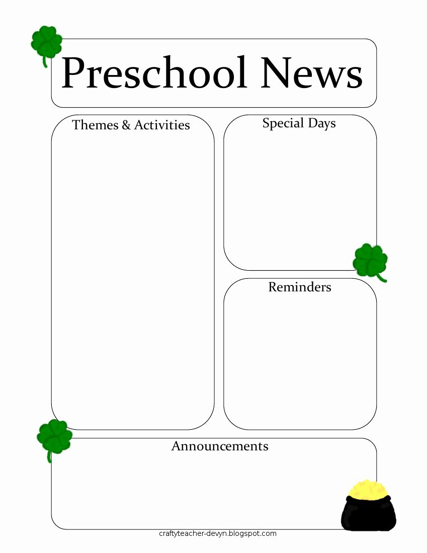 Free Newsletter Templates for Preschool Awesome Newsletter Templates