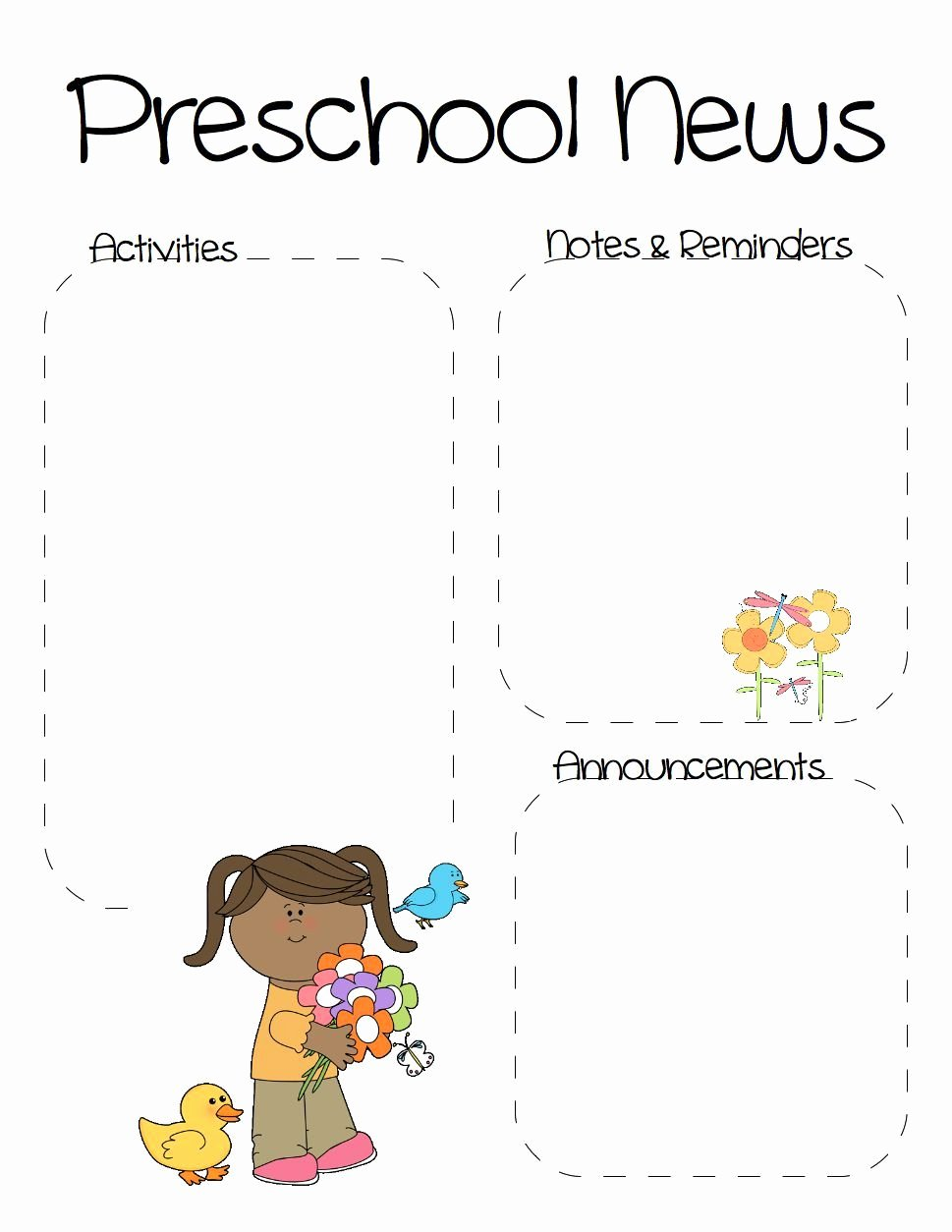 Free Newsletter Templates for Preschool Awesome Spring Preschool Newsletter Template