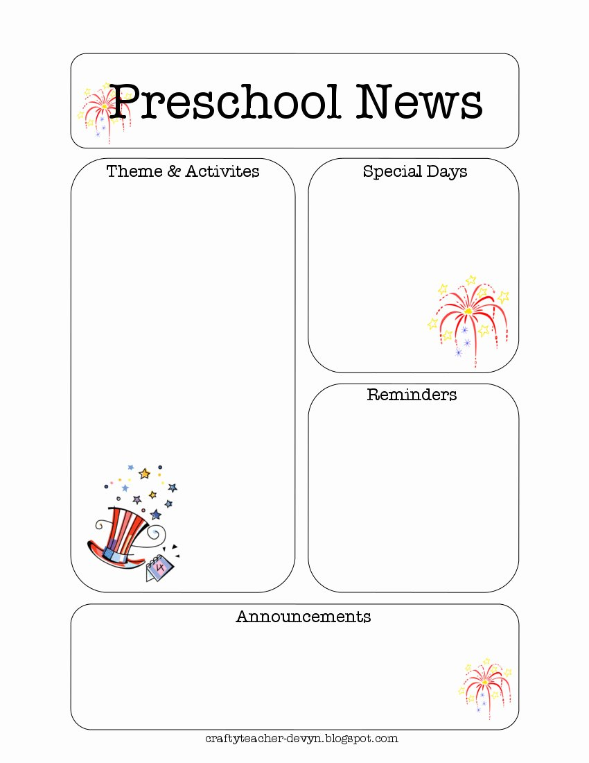Free Newsletter Templates for Preschool Lovely July Preschool Newsletter Template