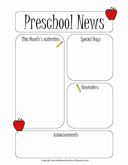 Free Newsletter Templates for Preschool Luxury Newsletter Templates