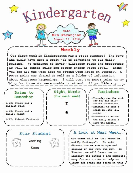 Free Newsletter Templates for Preschool Luxury Printable Kindergarten Newsletter Template