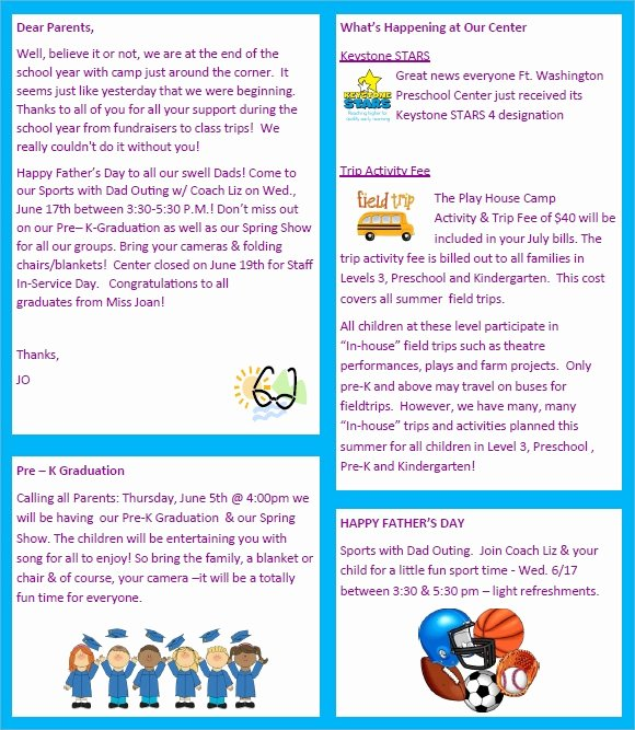 Free Newsletter Templates for Preschool New Sample Preschool Newsletter 8 Free Download for Word Pdf
