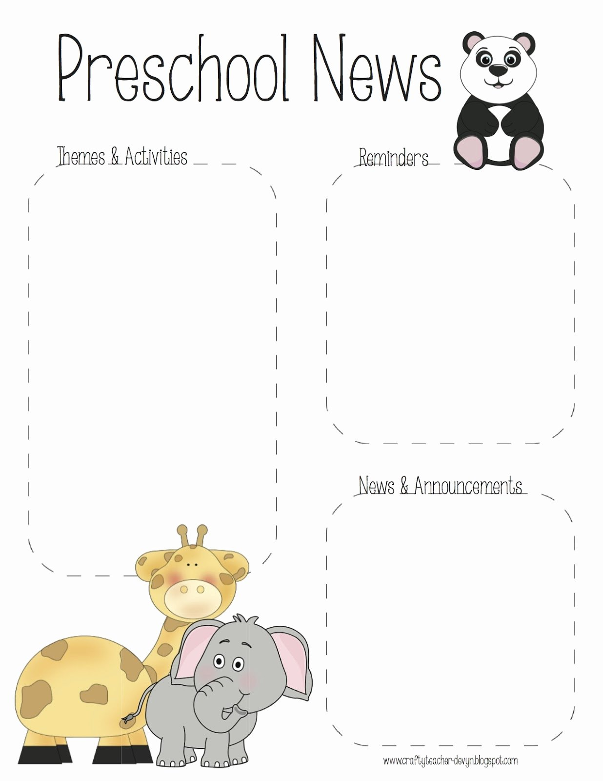 Free Newsletter Templates for Preschool New the Crafty Teacher Preschool Zoo Newsletter Template