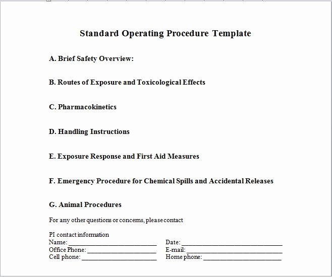 Free Office Procedures Manual Template Best Of 37 Best Free Standard Operating Procedure sop Templates