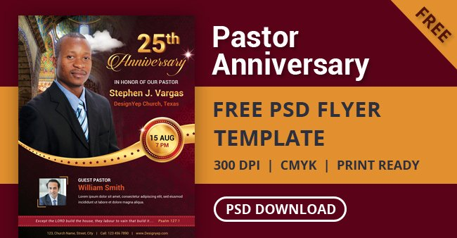 Free Pastor Anniversary Program Template Beautiful Free Pastor Anniversary Flyer Psd Template Designyep