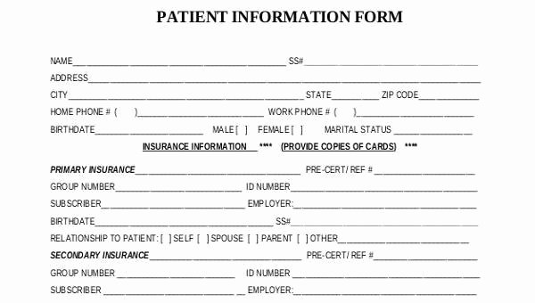 Free Patient Information form Template Lovely Sample Patient Information forms 10 Free Documents In
