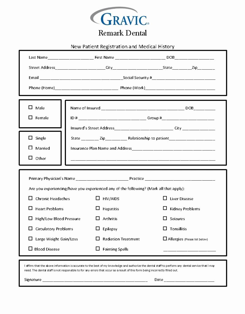 Free Patient Information form Template New Dental Patient History form · Remark software