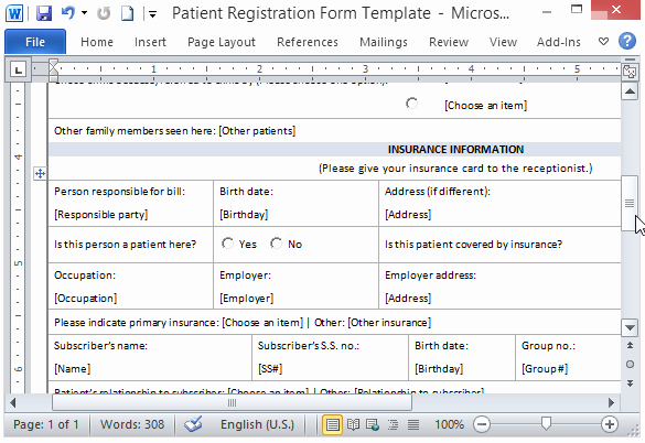 Free Patient Information form Template New Free Patient Registration form Template