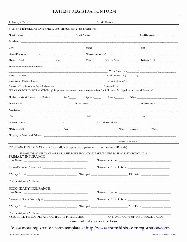 Free Patient Information form Template New Registration form Template