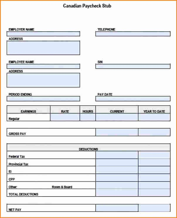 Free Payroll Template Awesome 5 Free Blank Pay Stub Template S