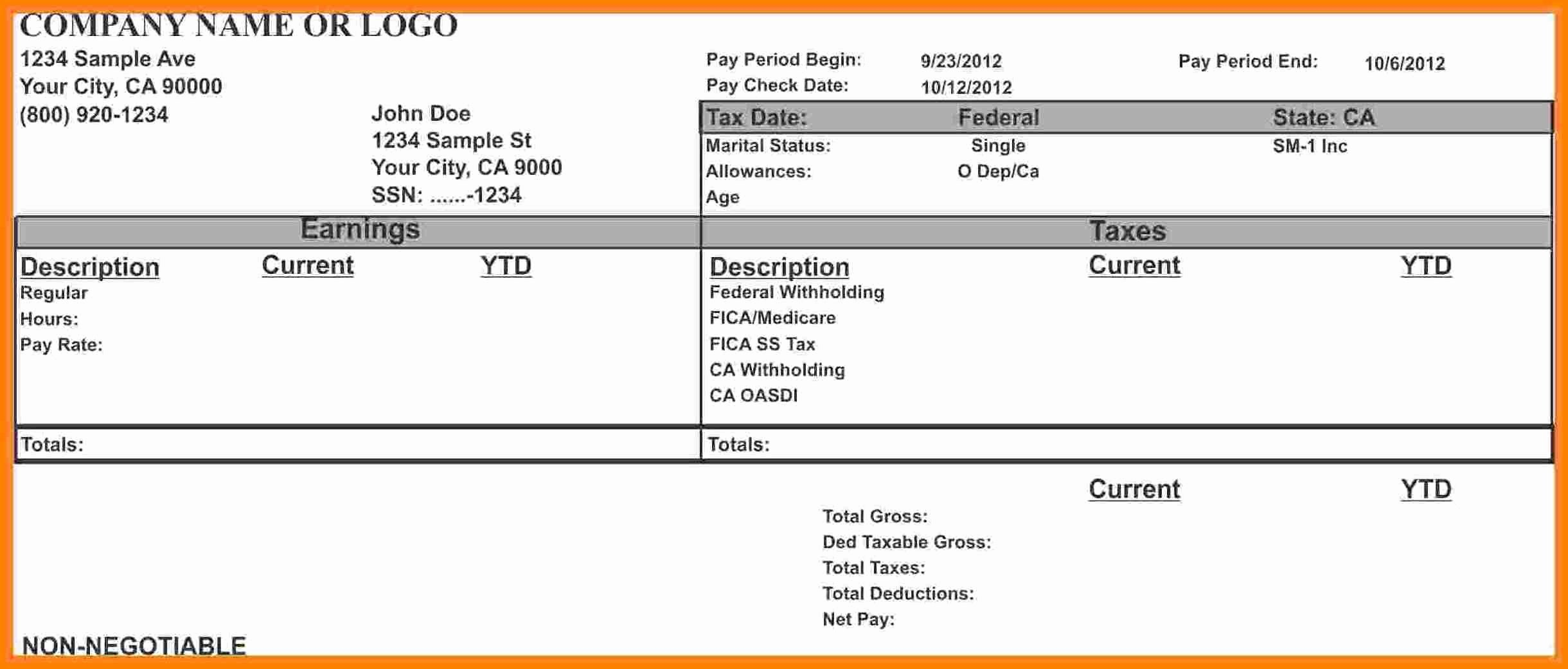 Free Payroll Template Best Of 8 Free Payroll Stub Template