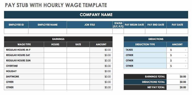 Free Payroll Template Luxury Free Pay Stub Templates