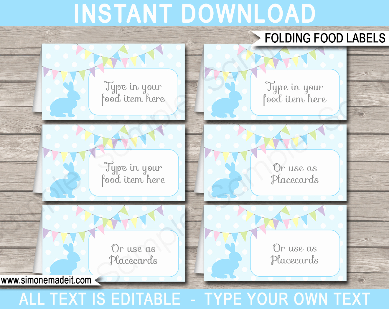 Free Place Card Template 6 Per Sheet Elegant Easter Food Labels Place Cards