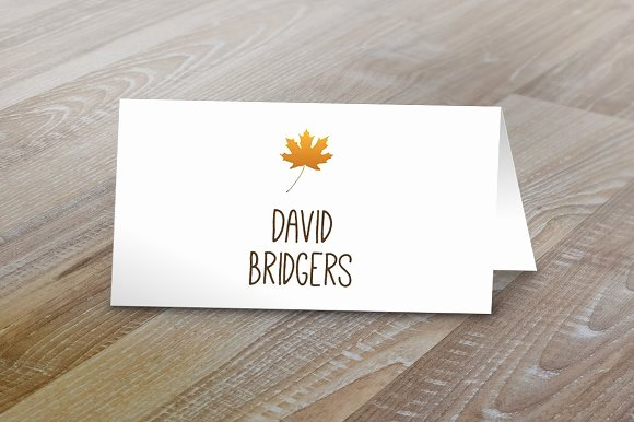 Free Place Card Template 6 Per Sheet Elegant Fall Table Tent Name Cards Card Templates On Creative Market