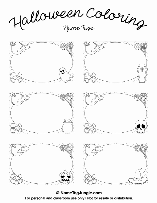 Free Place Card Template 6 Per Sheet Fresh Printable Halloween Coloring Name Tags