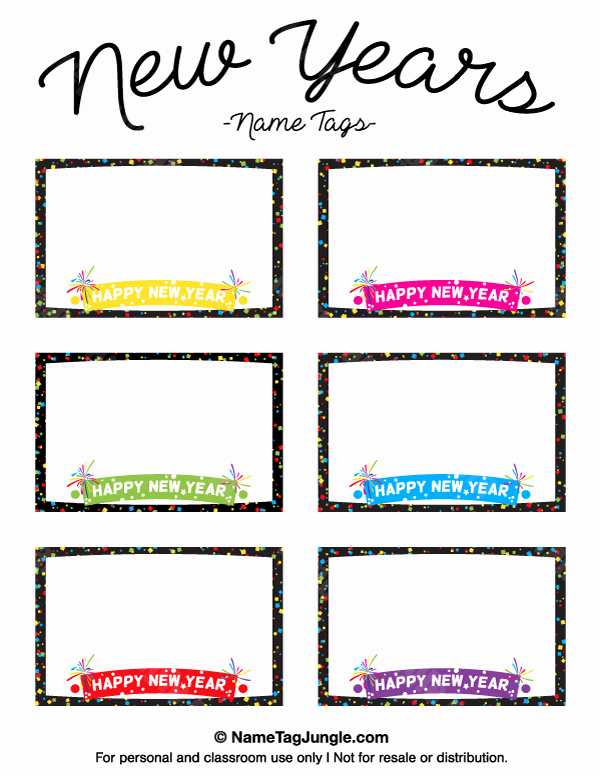 Free Place Card Template 6 Per Sheet Inspirational Printable New Year S Name Tags