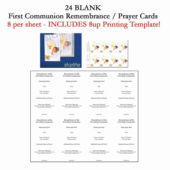 Free Prayer Card Template for Word New Printable First Munion Remembrance Cards 1st Munion