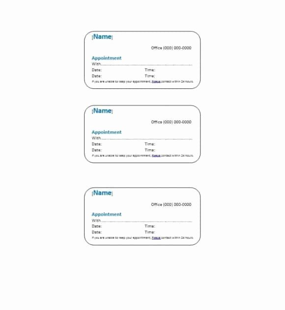 Free Printable Appointment Reminder Cards Awesome 40 Appointment Cards Templates & Appointment Reminders
