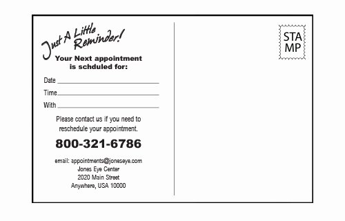 Free Printable Appointment Reminder Cards Lovely Eye Exam Calendar 2 Appointment Card Patient Education