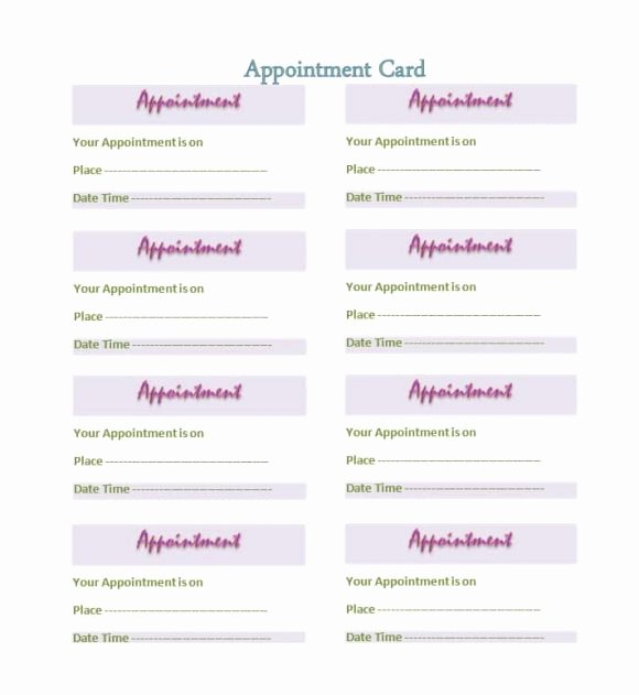Free Printable Appointment Reminder Cards Luxury 40 Appointment Cards Templates & Appointment Reminders