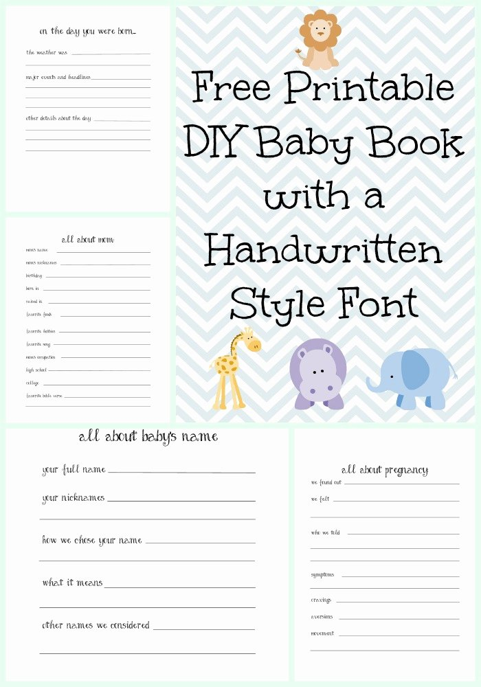 Free Printable Baby Book Pages Awesome Make A Diy Baby Book with A Handwritten Style Font with