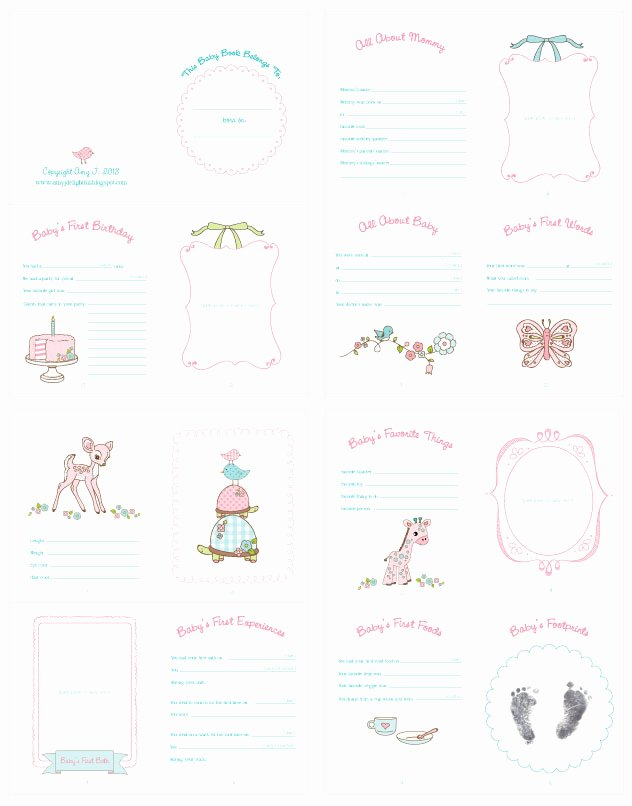 Free Printable Baby Book Pages Lovely Amy J Delightful Blog Baby Doll Record Book Printable