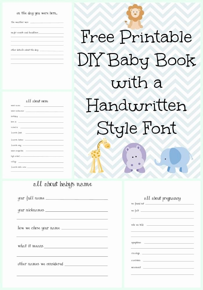 Free Printable Baby Book Pages New Make A Diy Baby Book with A Handwritten Style Font with