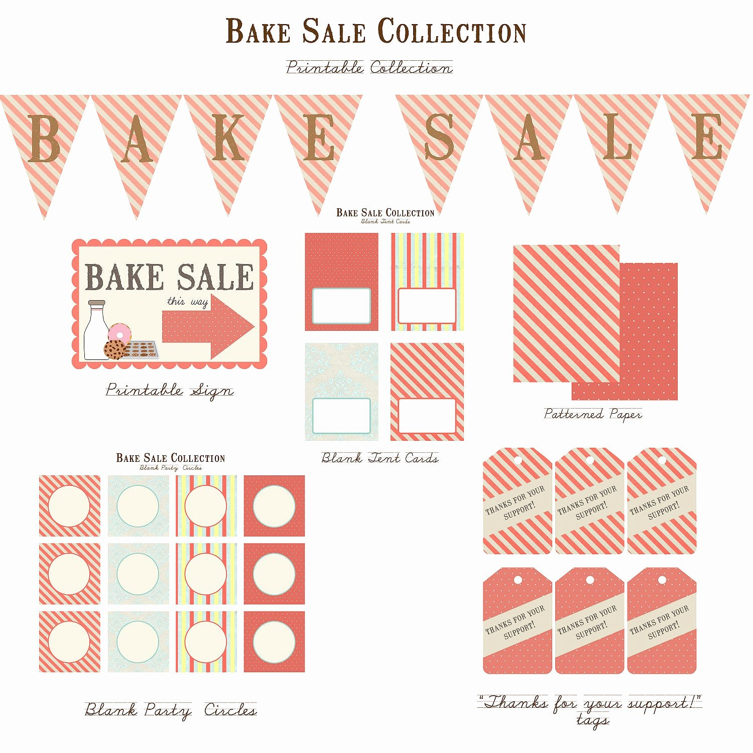 Free Printable Bake Sale Signs Elegant School Bake Sale Vintage Printable Collection by