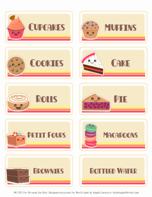 Free Printable Bake Sale Signs Lovely Bake Sale Printable Labels Set