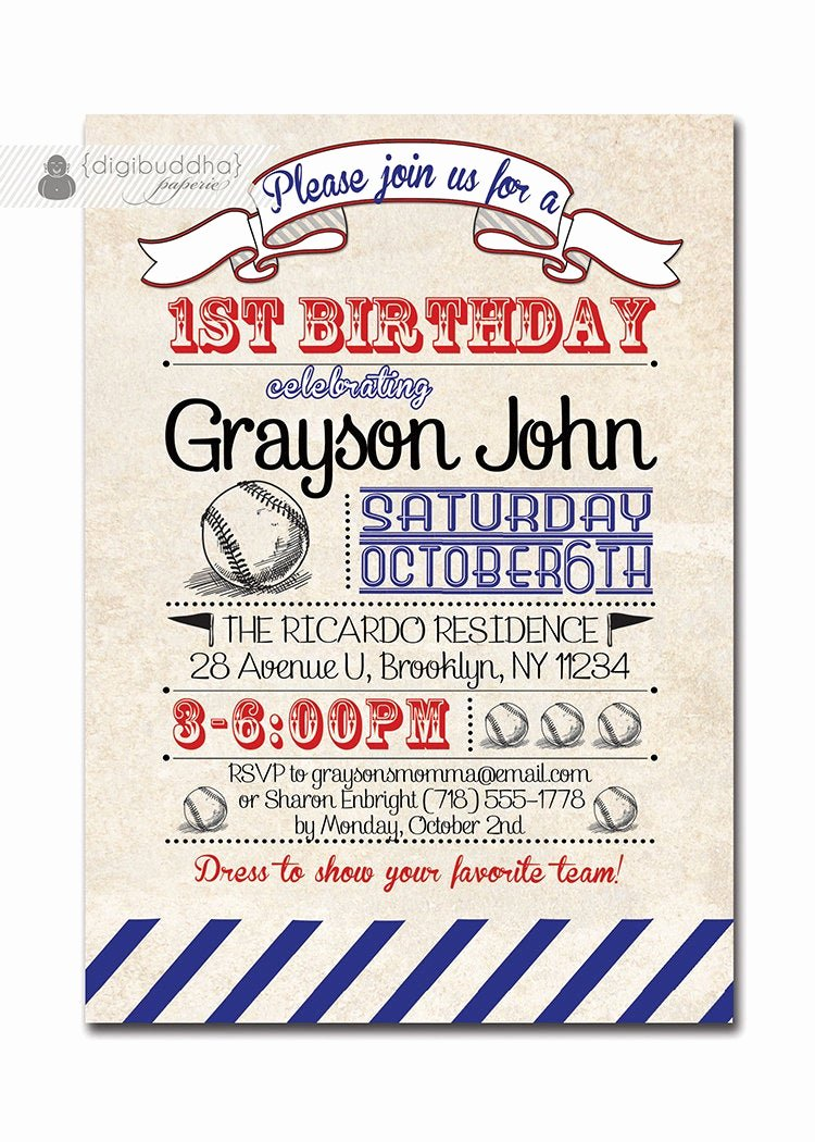 Free Printable Baseball Birthday Invitations Awesome Baseball Birthday Invitation 1st Birthday Baseball Vintage