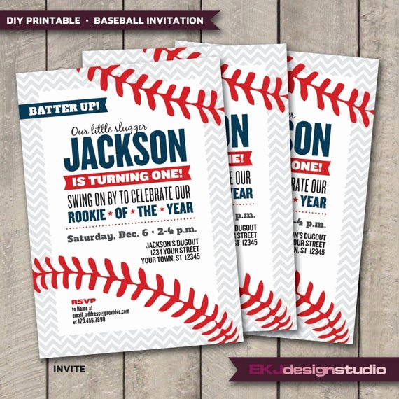 Free Printable Baseball Birthday Invitations Awesome Diy Printable Baseball Rookie Of the Year Birthday Invitation