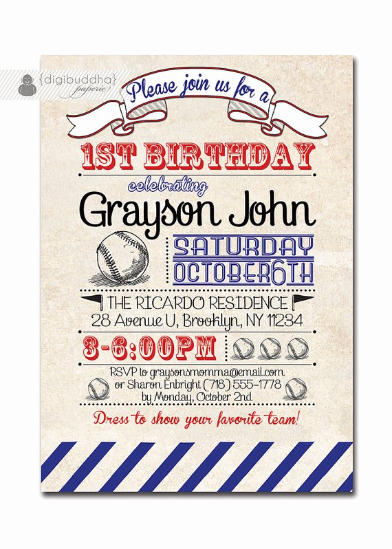 Free Printable Baseball Birthday Invitations Best Of Baseball Birthday Invitation 1st Birthday Baseball Vintage