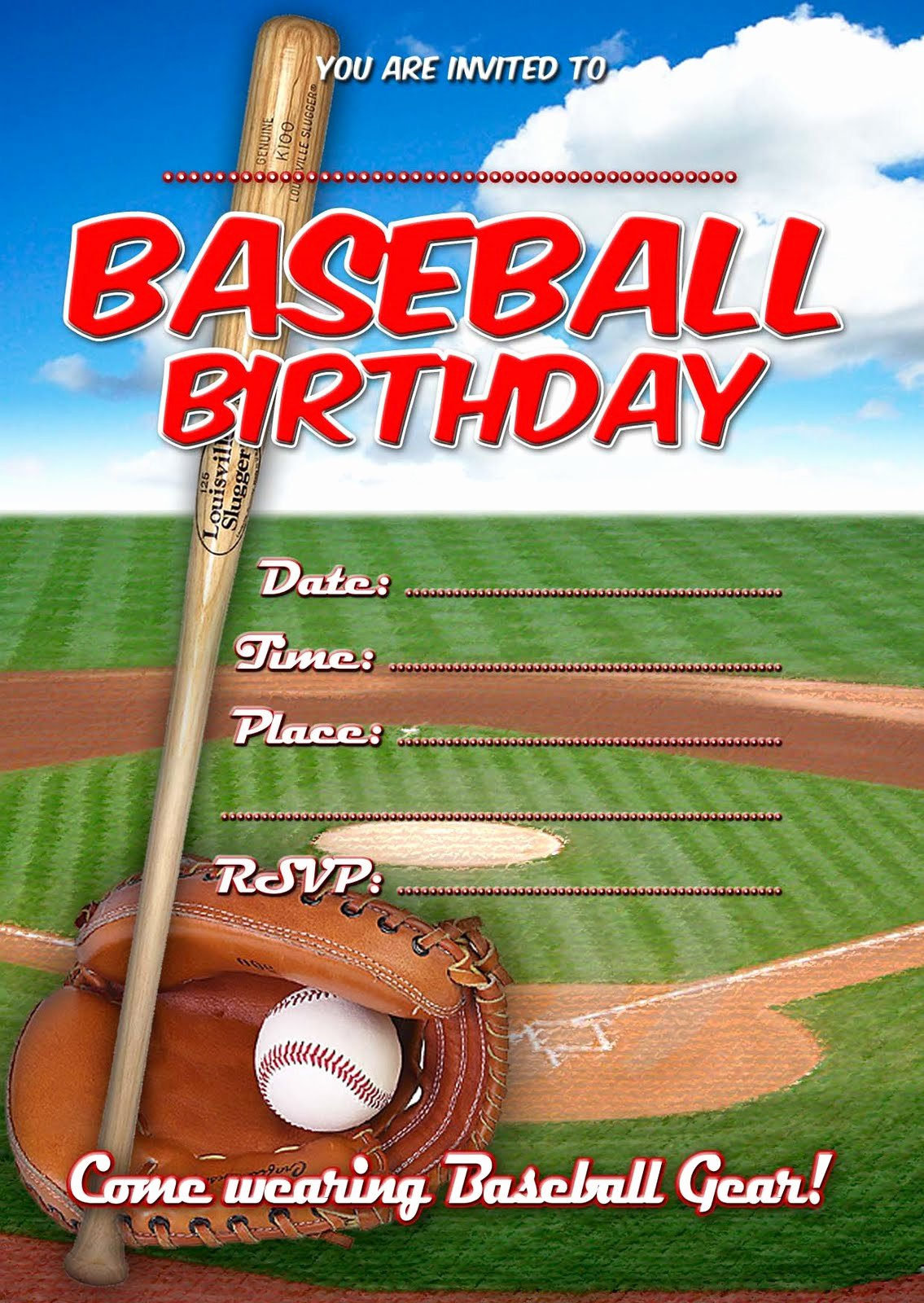 Free Printable Baseball Birthday Invitations Elegant Free Kids Party Invitations Baseball Birthday Invitation