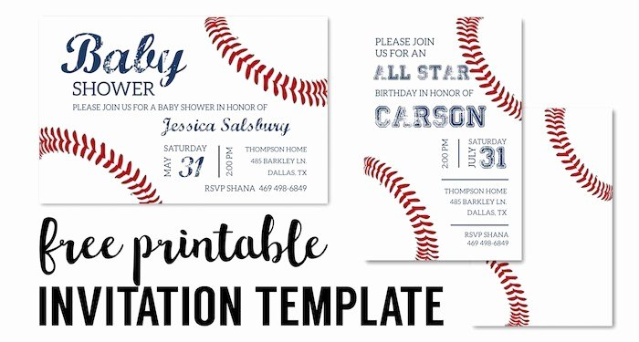 Free Printable Baseball Birthday Invitations Fresh Baseball Party Invitations Free Printable Paper Trail Design