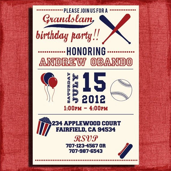 Free Printable Baseball Birthday Invitations Inspirational Vintage Baseball Birthday Invitation 4x6 or 5x7 by
