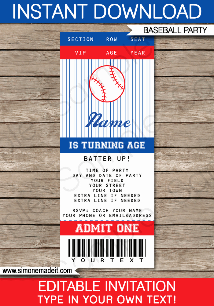 Free Printable Baseball Birthday Invitations Lovely Baseball Ticket Invitation Template Lsm