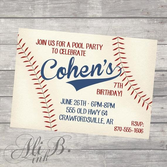 Free Printable Baseball Birthday Invitations New Baseball Party Birthday Printable Invitation
