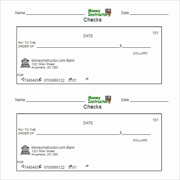 Free Printable Checks Template Fresh 43 Cheque Templates Free Word Excel Psd Pdf formats