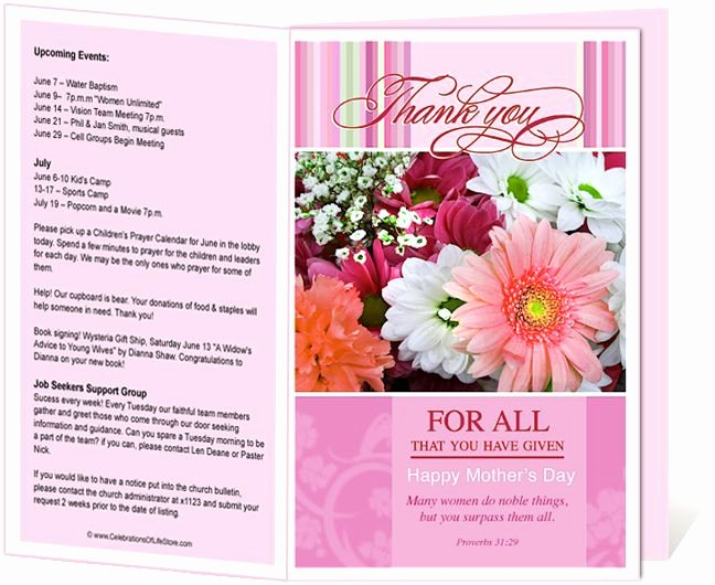 Free Printable Church Bulletin Templates Lovely Church Bulletin Templates Mother S Day Church Bulletin