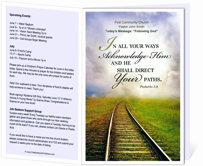 Free Printable Church Bulletin Templates New Church Bulletin Templates Railroad Church Bulletin