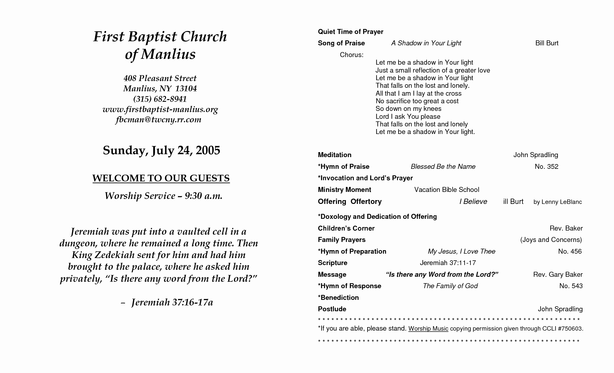 Free Printable Church Bulletin Templates New Church Program Template
