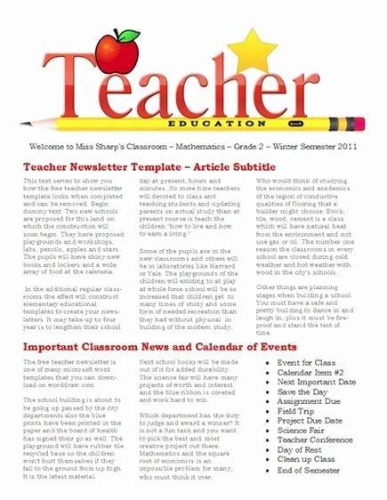 Free Printable Classroom Newsletter Templates Awesome Free Newsletter Templates for Teaches and School