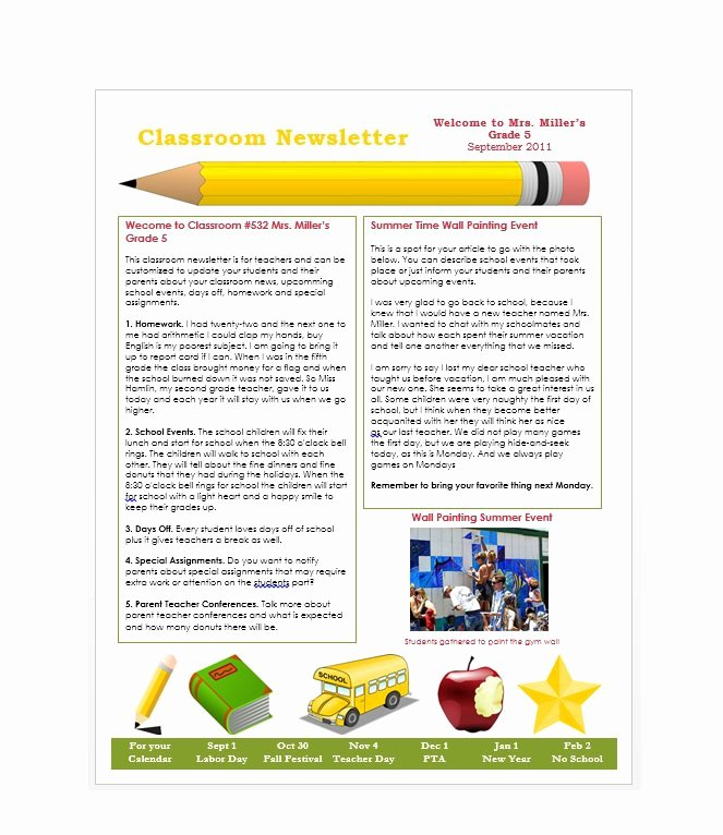 Free Printable Classroom Newsletter Templates New 50 Free Newsletter Templates for Work School and