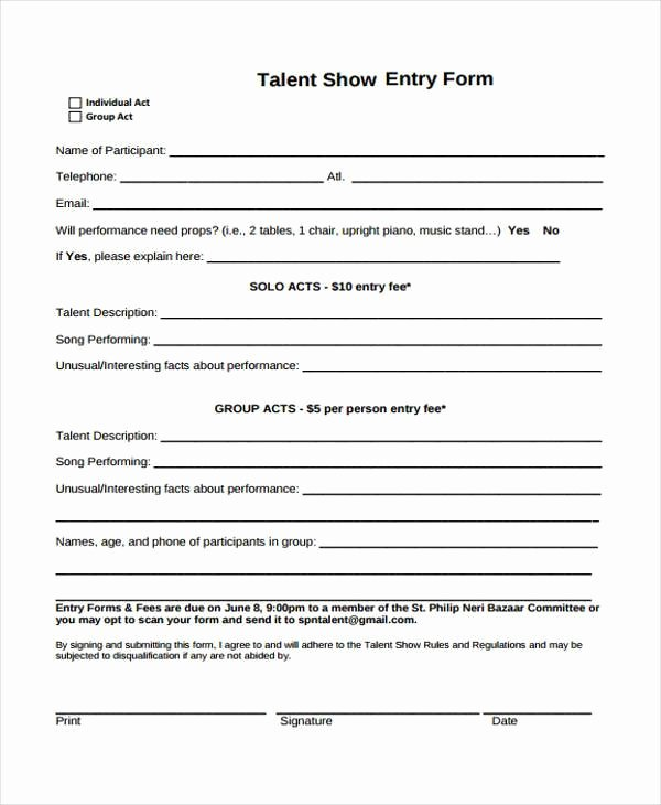 Free Printable Contest Entry form Template Elegant 10 Talent Show Registration form Samples Free Sample