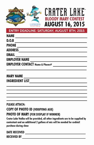 Free Printable Contest Entry form Template Inspirational Contest form