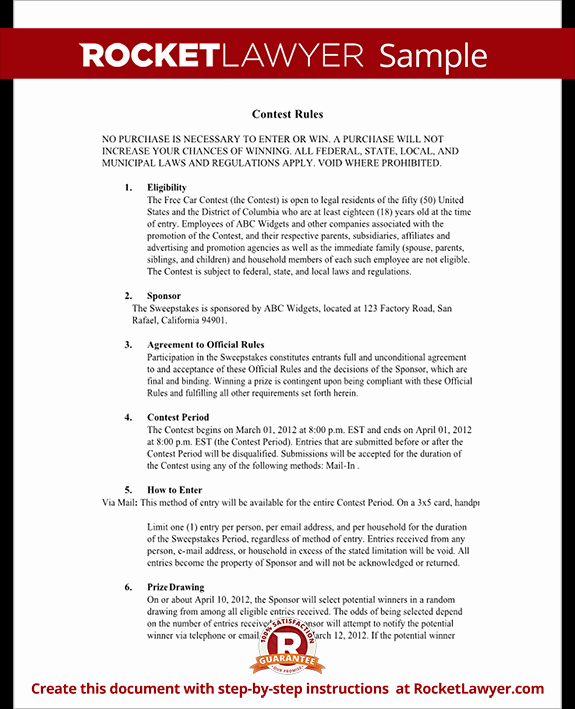 Free Printable Contest Entry form Template Inspirational Contest Rules Document Rules for Hosting A Contest Template