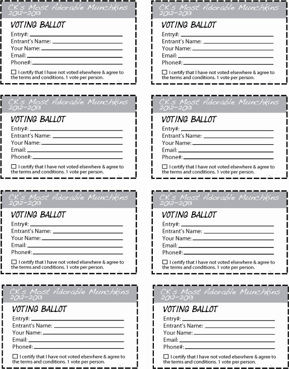 Free Printable Contest Entry form Template Lovely Ck S Most Adorable Munchkins Contest 2012 2013