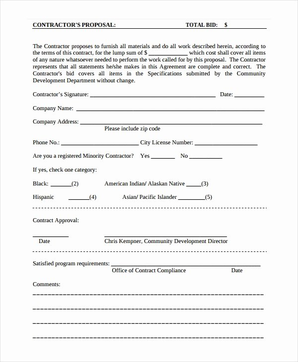 Free Printable Contractor Proposal forms Best Of Contractor Proposal Template 13 Free Word Document