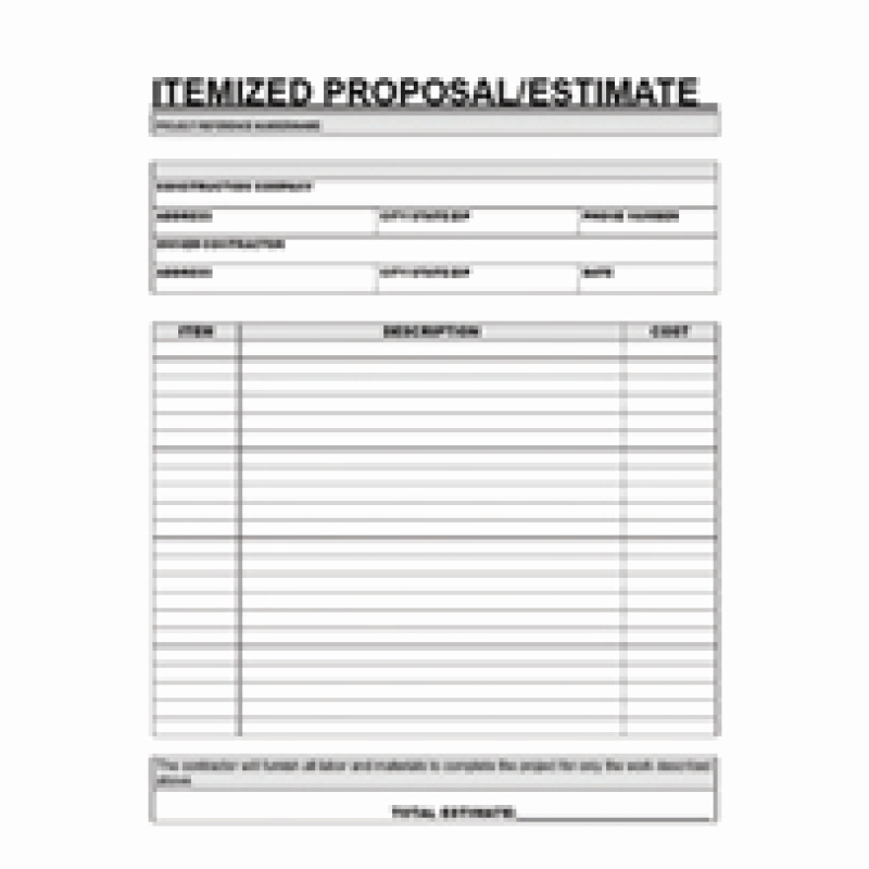 Free Printable Contractor Proposal forms Best Of Free Printable Contractor Proposal forms