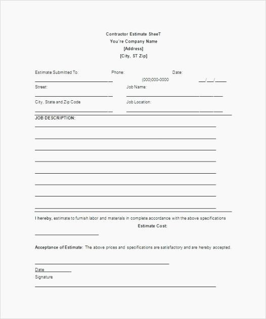 Free Printable Contractor Proposal forms Fresh 40 Gargantuan Free Printable Contractor Bid forms